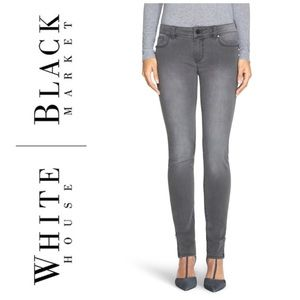WHITE HOUSE BLACK MARKET GREY SKIMMER JEANS 00